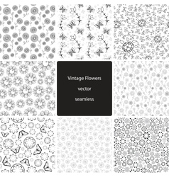 Vintage Fowers Seamless Collection vector image