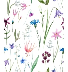 Watercolor wild flowers pattern vector