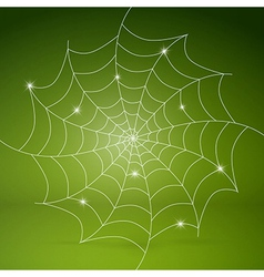 White cobweb on green background vector