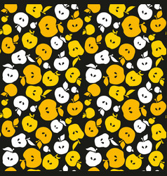 Yellow apple fruit seamless pattern for fabric vector