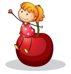 Girl and cherry vector