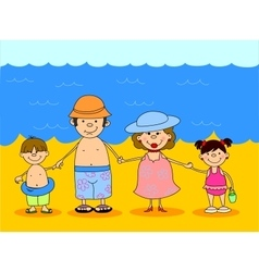 Happy family by the sea vector