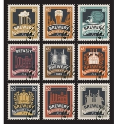 Stamps on beer and brewery vector