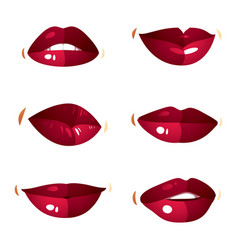 Set of sexy female red lips expressing different vector