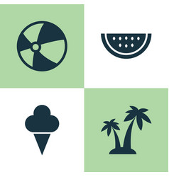 season icons set collection of trees melon vector image