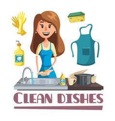 Woman washing dishes by hand in sink poster vector