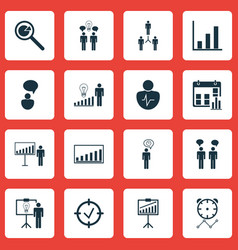 Set of 16 board icons includes project vector