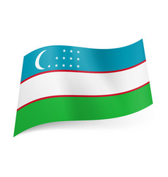National flag of uzbekistan blue white and green vector