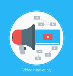Flat design concept for video marketing for vector