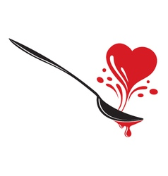 spoon and heart vector image
