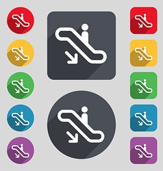 Elevator escalator staircase icon sign a set of 12 vector
