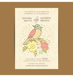 Vintage invitation card with bird vector