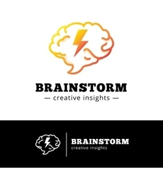Brain with lightning logo concept creative vector