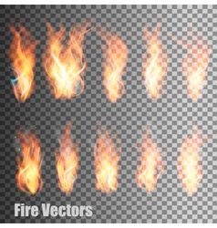 Set of transparent flame vector