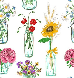 Seamless pattern of mason jars with flowers vector image