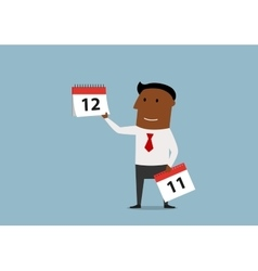 Businessman with the calendar last month page vector