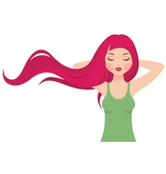 Girl with long pink hair vector