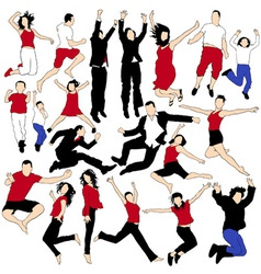 20 Jumping People Silhouettes vector image