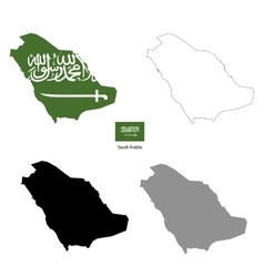 Saudi arabia country black silhouette and with vector