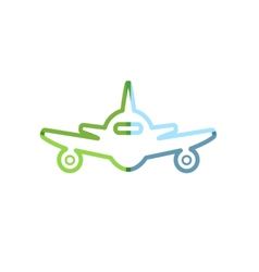 Abstract colorful minimalistic air plane logo vector image vector image