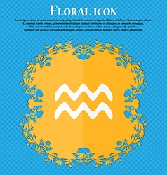 Aquarius icon Floral flat design on a blue vector image