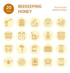 Beekeeping apiculture line icons beekeeper vector