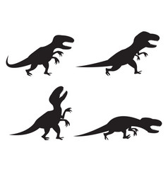black silhouette of t-rex and velociraptor in vector image