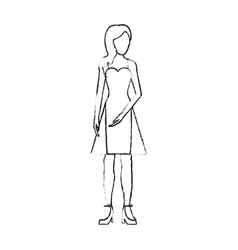 blurred silhouette image faceless woman with dress vector image