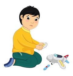 Boy with His Broken Toy vector image vector image