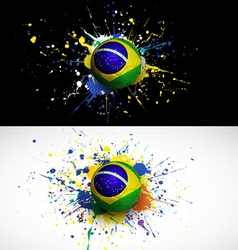 brazil flag with soccer ball dash on colorful vector image vector image