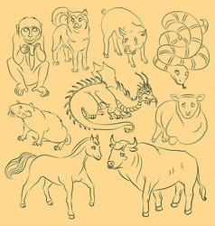Bull-dog-dragon-horse-monkey-pig-rat-sheep-snake vector
