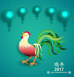 Chinese new year 2017 greeting card with chicken vector