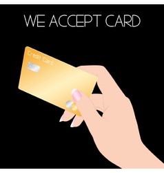 Credit card with woman hand vector