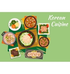 Dinner of national korean cuisine vector