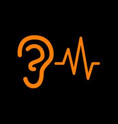 ear hearing sound sign orange icon on black vector image