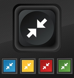 Exit full screen icon symbol set of five colorful vector