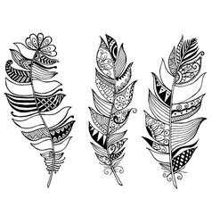 feathers mandala vintage decorative elements vector image vector image