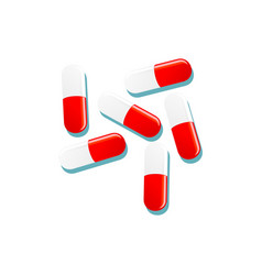 flat cartoon red white capsules isolated vector image