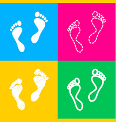 Foot prints sign four styles of icon on four vector