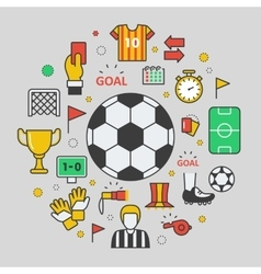 Football Soccer Line Art Thin Icons vector image