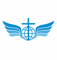 Globe cross and wings vector