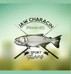 golden dorado fishing emblem on blur background vector image vector image