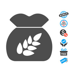 Grain harvest flat icon with free bonus elements vector