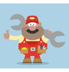 Happy Mechanic Cartoon Giving Thumbs Up vector image