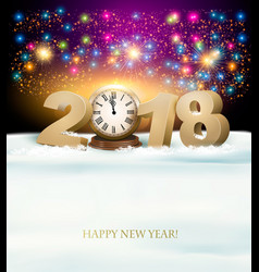 happy new year background with 2018 a clock and vector image vector image