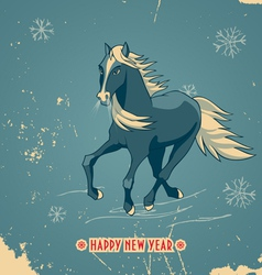 Happy New Year vintage card with horse vector image