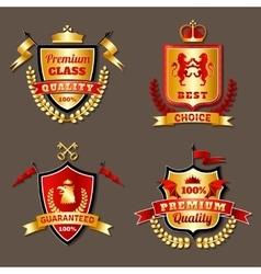 Heraldic premium realistic emblems set vector