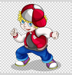 Hiphop boy in red jacket vector