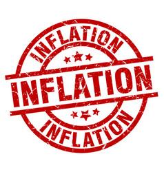 Inflation round red grunge stamp vector