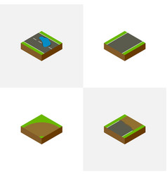 Isometric way set of plash sand unilateral vector